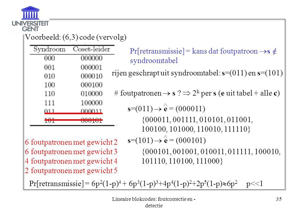 Lineaire blokcodes: foutcorrectie en -detectie