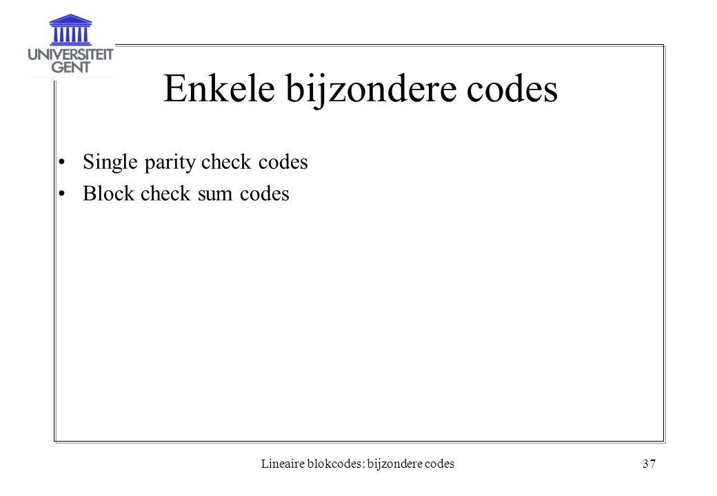 Enkele bijzondere codes
