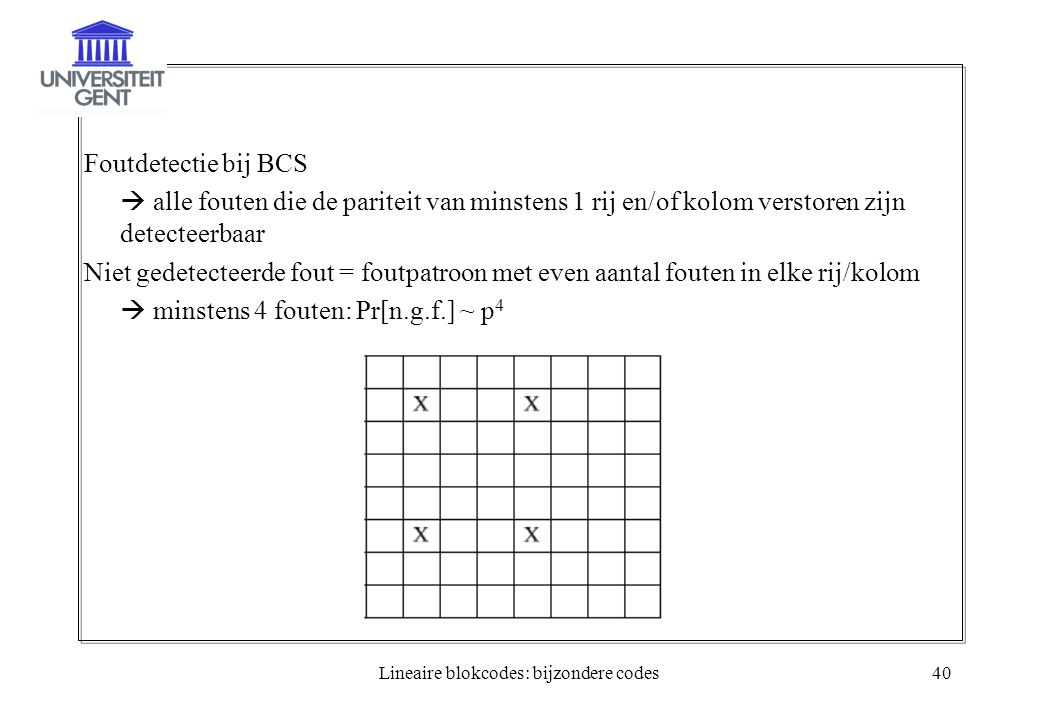 Lineaire blokcodes: bijzondere codes