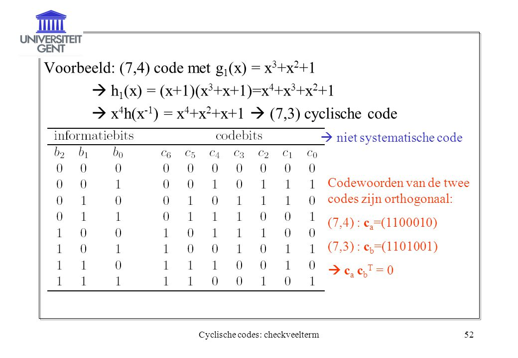 Cyclische codes: checkveelterm