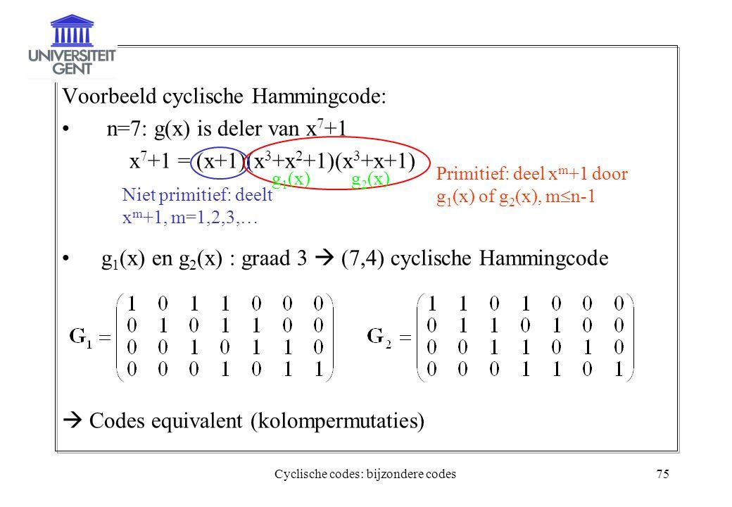 Cyclische codes: bijzondere codes