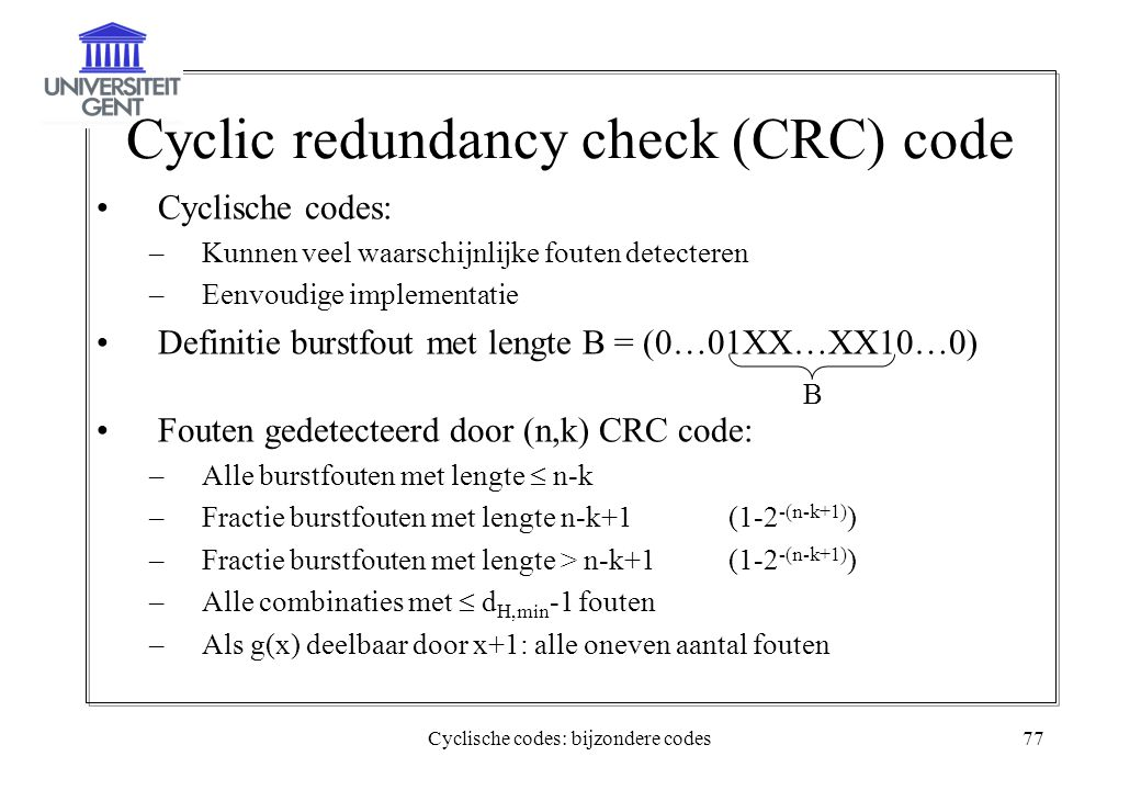 Cyclic redundancy check (CRC) code