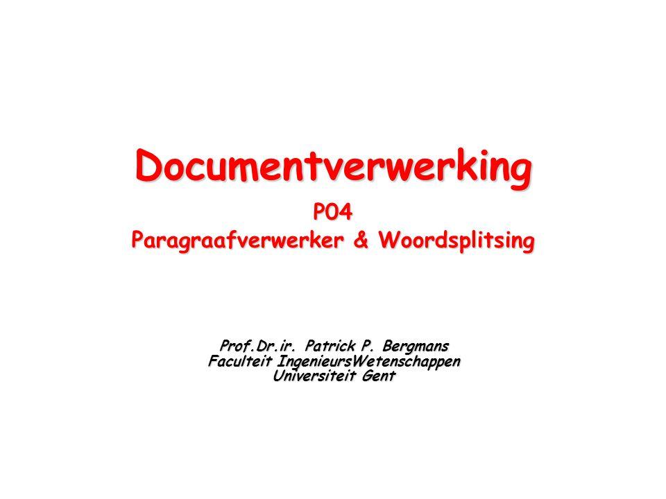 Documentverwerking P04 Paragraafverwerker & Woordsplitsing