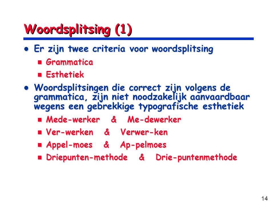 Woordsplitsing (1) Er zijn twee criteria voor woordsplitsing