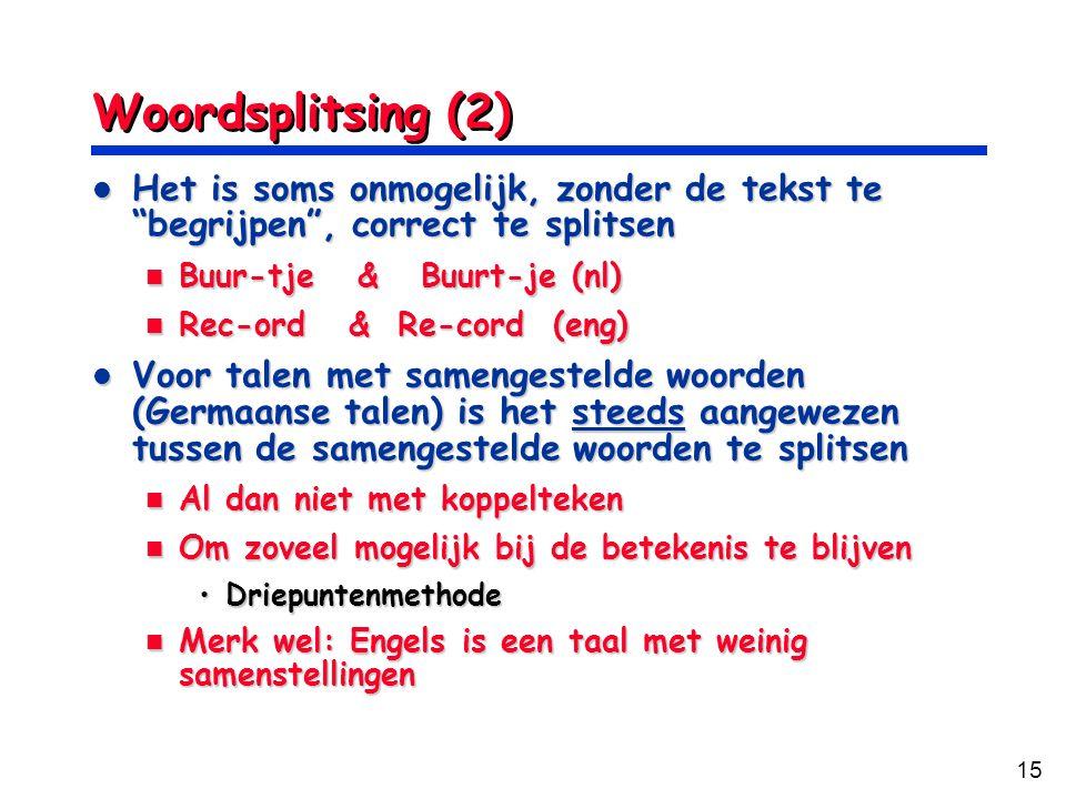 Woordsplitsing (2) Het is soms onmogelijk, zonder de tekst te begrijpen , correct te splitsen. Buur-tje & Buurt-je (nl)