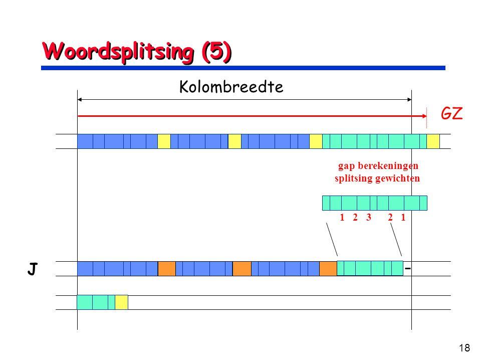 Woordsplitsing (5) Kolombreedte GZ J gap berekeningen