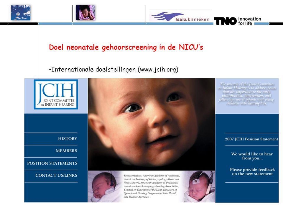 Doel neonatale gehoorscreening in de NICU's