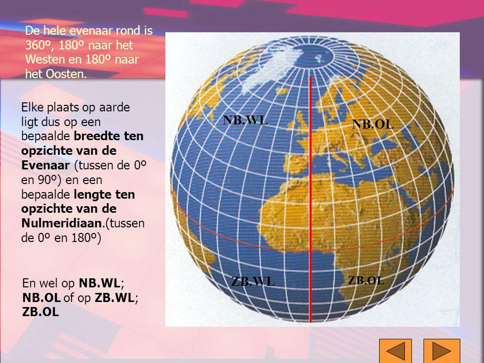 De hele evenaar rond is 360º, 180º naar het Westen en 180º naar het Oosten.