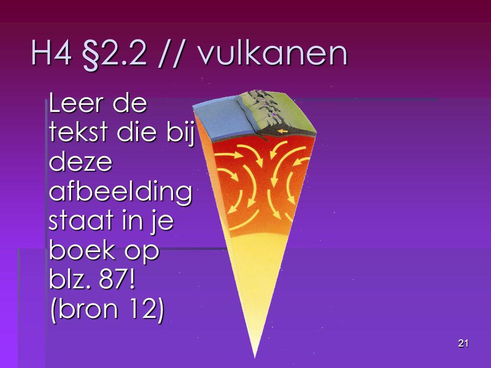 H4 §2.2 // vulkanen Leer de tekst die bij deze afbeelding staat in je boek op blz. 87! (bron 12)