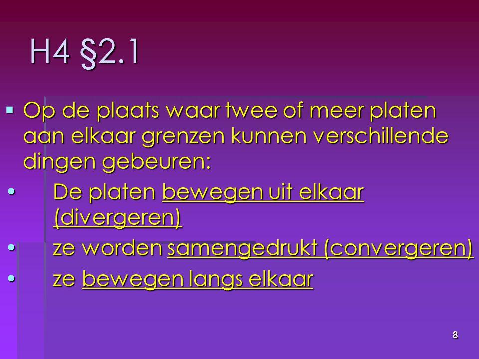 H4 §2.1 Op de plaats waar twee of meer platen aan elkaar grenzen kunnen verschillende dingen gebeuren: