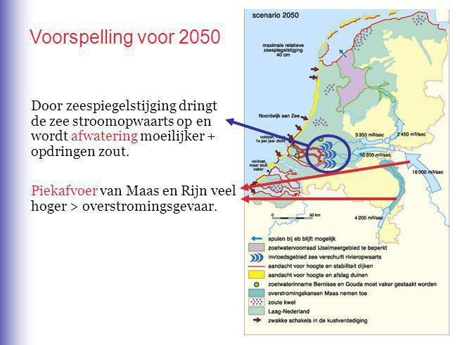 Voorspelling voor 2050 Door zeespiegelstijging dringt de zee stroomopwaarts op en wordt afwatering moeilijker + opdringen zout.