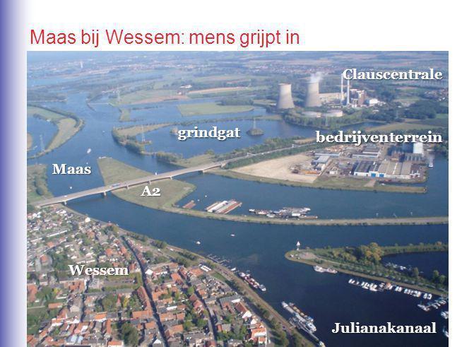 Maas bij Wessem: mens grijpt in