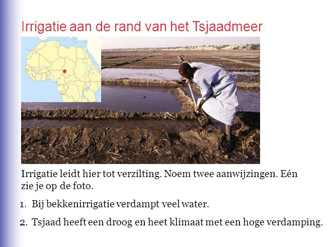 Irrigatie aan de rand van het Tsjaadmeer