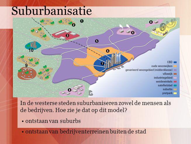 Suburbanisatie 10. 9. In de westerse steden suburbaniseren zowel de mensen als de bedrijven. Hoe zie je dat op dit model