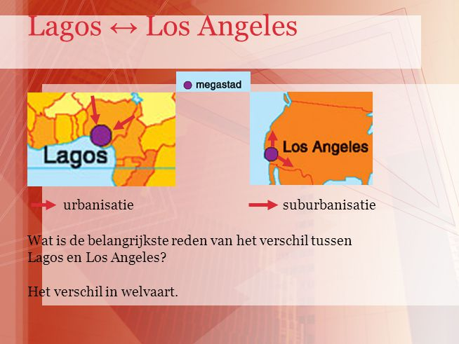 Lagos ↔ Los Angeles suburbanisatie