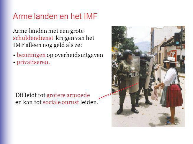 Arme landen en het IMF Arme landen met een grote schuldendienst krijgen van het IMF alleen nog geld als ze: