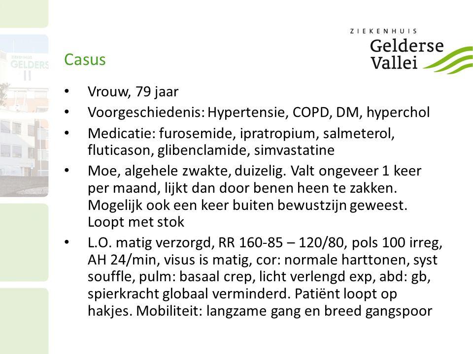 Casus Vrouw, 79 jaar. Voorgeschiedenis: Hypertensie, COPD, DM, hyperchol.