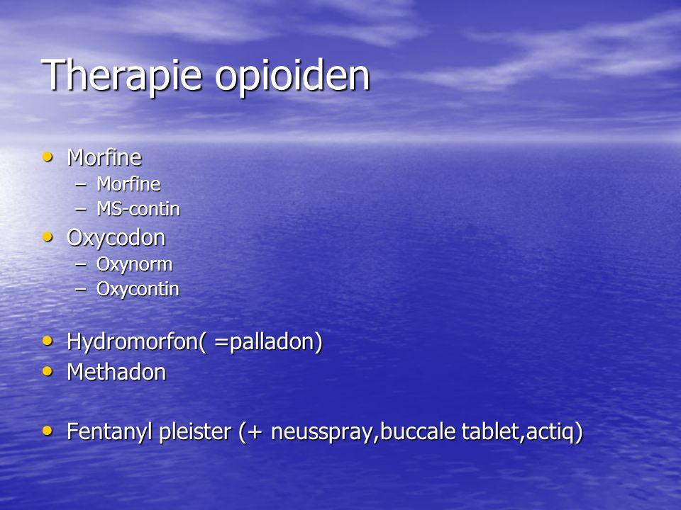 Therapie opioiden Morfine Oxycodon Hydromorfon( =palladon) Methadon