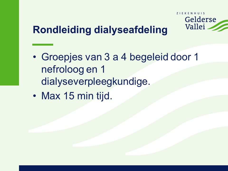 Rondleiding dialyseafdeling