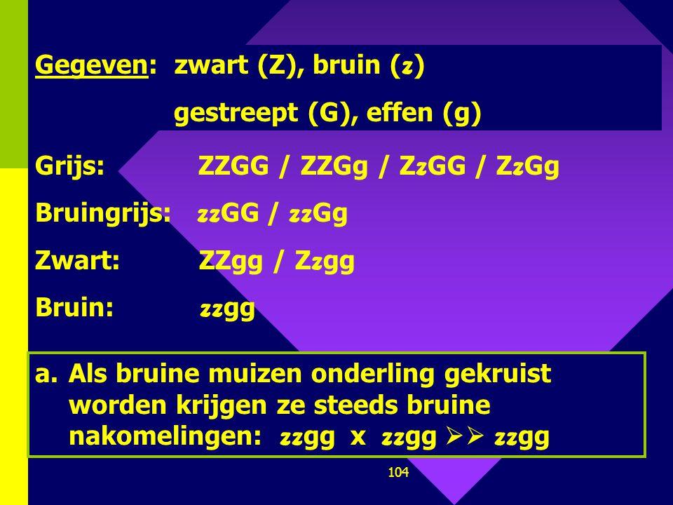 Gegeven: zwart (Z), bruin (z)