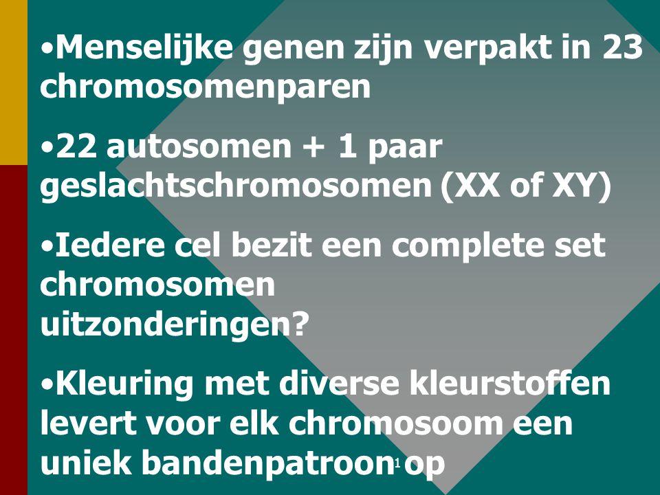 Menselijke genen zijn verpakt in 23 chromosomenparen