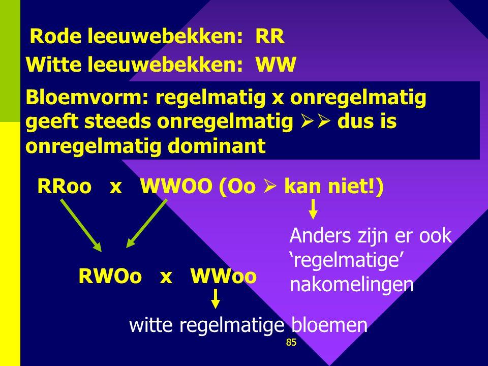 Rode leeuwebekken: RR Witte leeuwebekken: WW. Bloemvorm: regelmatig x onregelmatig geeft steeds onregelmatig  dus is onregelmatig dominant.