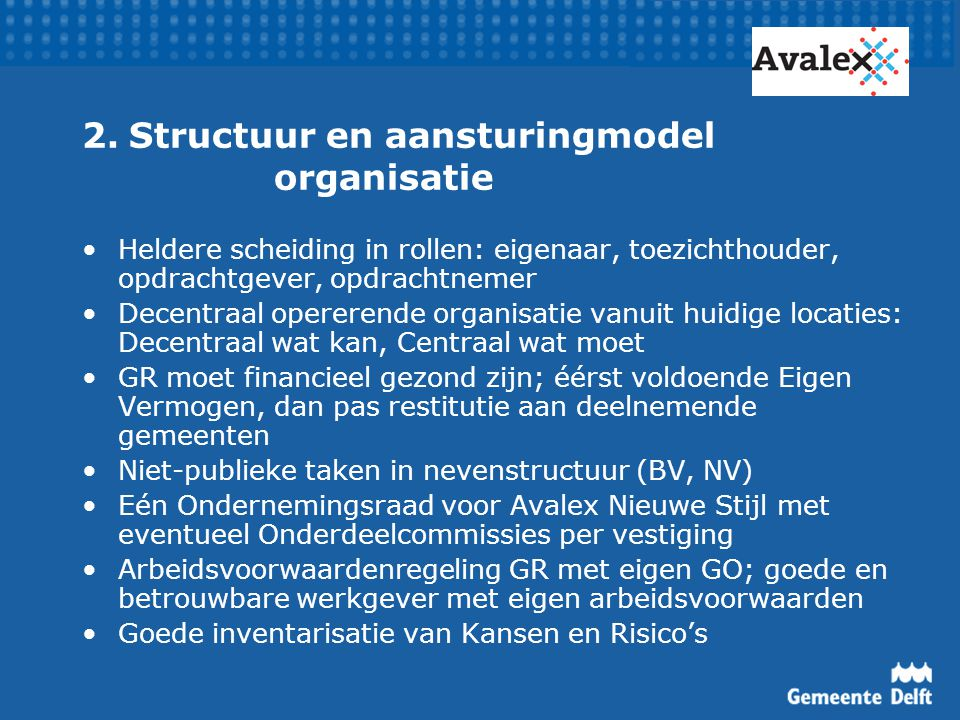 2. Structuur en aansturingmodel organisatie