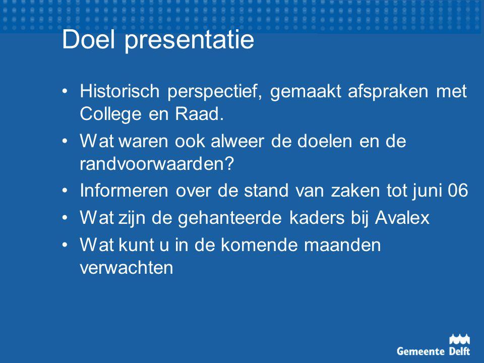 Doel presentatie Historisch perspectief, gemaakt afspraken met College en Raad. Wat waren ook alweer de doelen en de randvoorwaarden