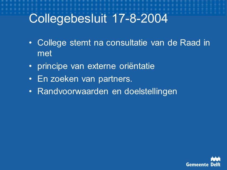 Collegebesluit 17-8-2004 College stemt na consultatie van de Raad in met. principe van externe oriëntatie.
