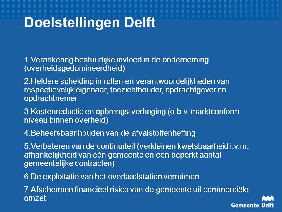 Doelstellingen Delft 1.Verankering bestuurlijke invloed in de onderneming (overheidsgedomineerdheid)