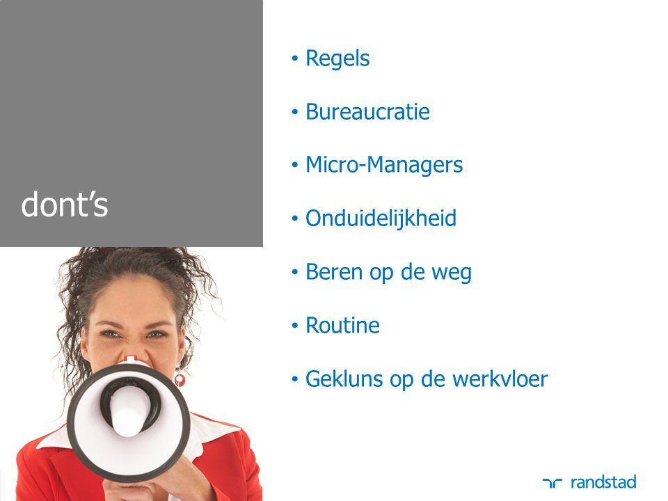 dont's Regels Bureaucratie Micro-Managers Onduidelijkheid