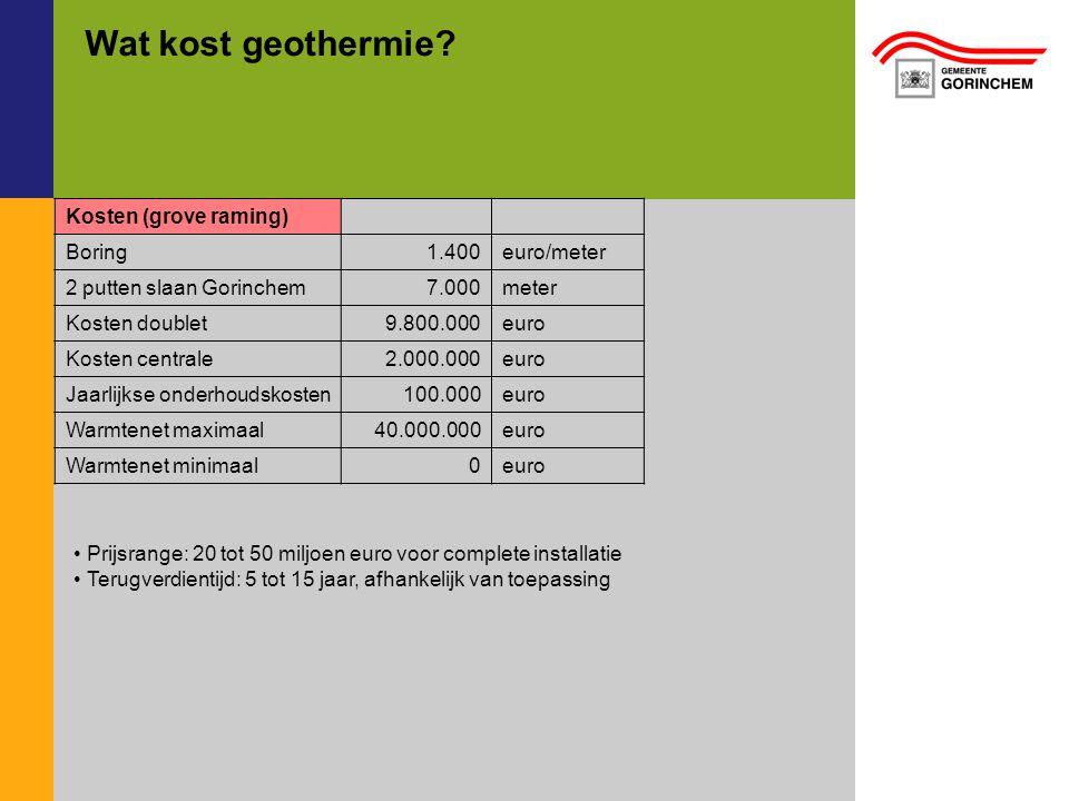 Wat kost geothermie Kosten (grove raming) Boring 1.400 euro/meter