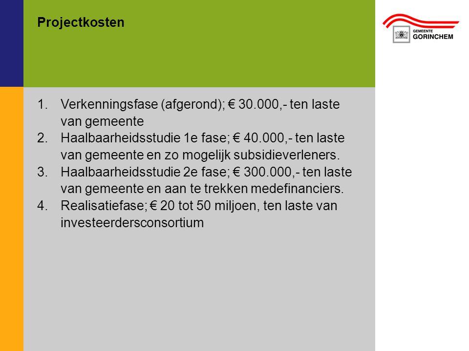Verkenningsfase (afgerond); € 30.000,- ten laste van gemeente