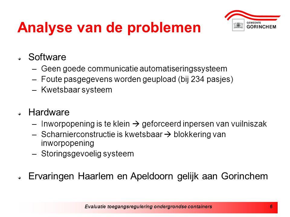 Analyse van de problemen