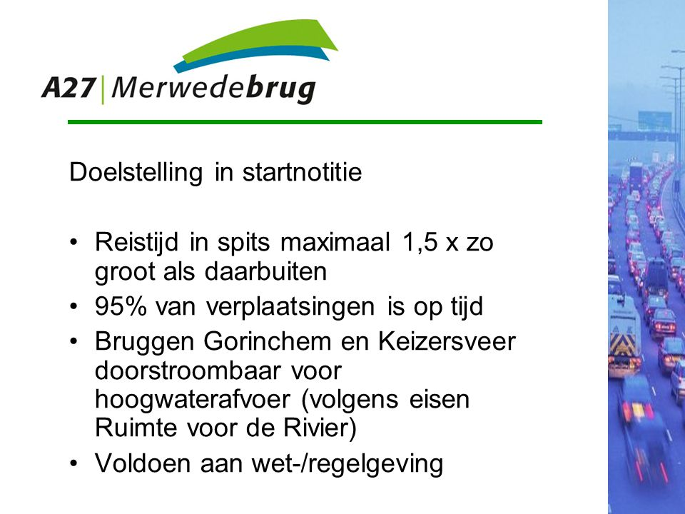 Doelstelling in startnotitie