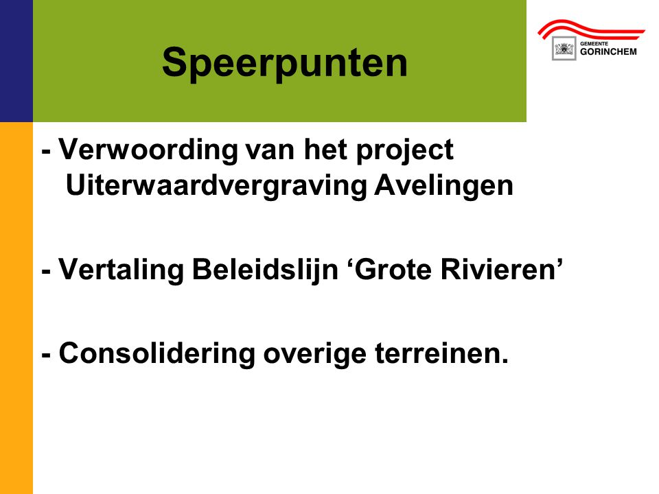 Speerpunten - Verwoording van het project Uiterwaardvergraving Avelingen. - Vertaling Beleidslijn 'Grote Rivieren'