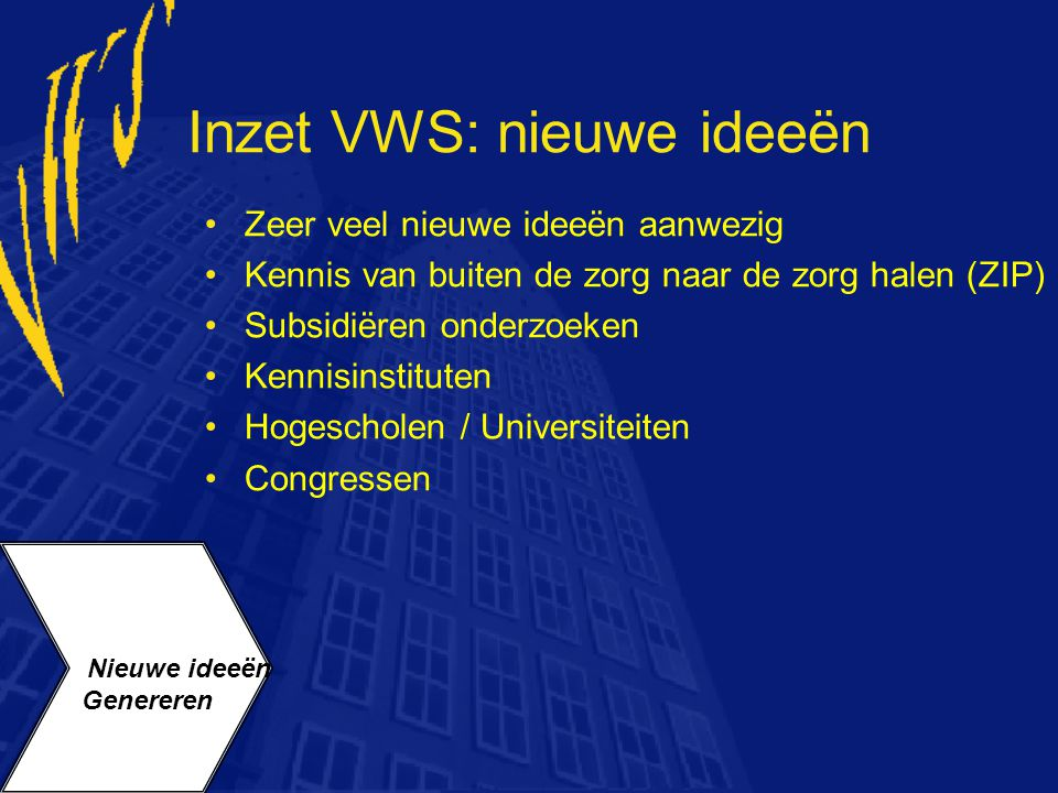 Inzet VWS: nieuwe ideeën