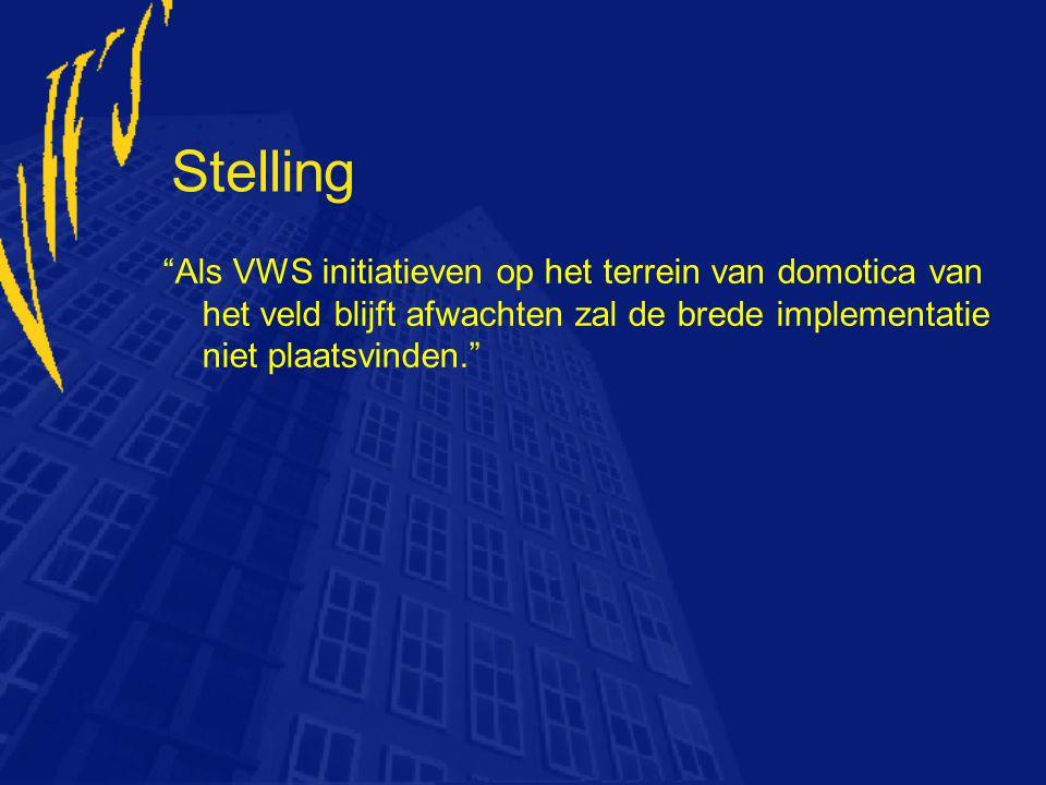 Stelling Als VWS initiatieven op het terrein van domotica van het veld blijft afwachten zal de brede implementatie niet plaatsvinden.