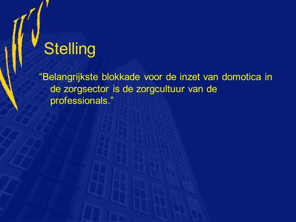Stelling Belangrijkste blokkade voor de inzet van domotica in de zorgsector is de zorgcultuur van de professionals.
