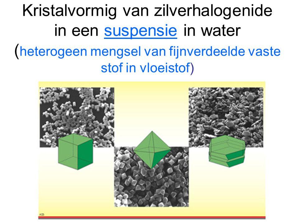 Kristalvormig van zilverhalogenide in een suspensie in water (heterogeen mengsel van fijnverdeelde vaste stof in vloeistof)