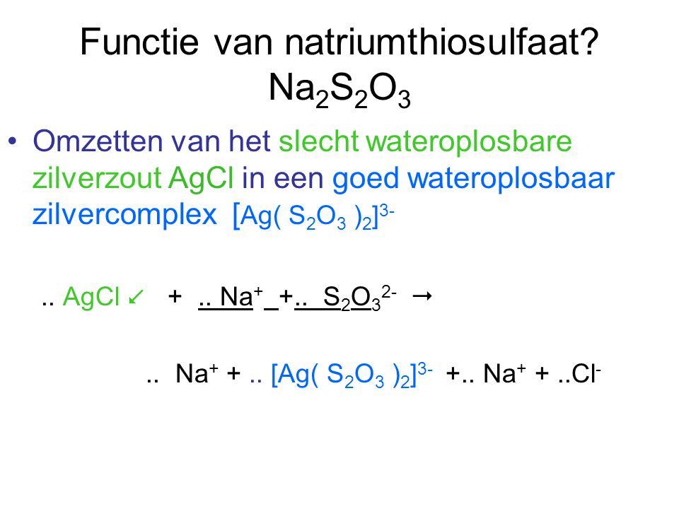 Functie van natriumthiosulfaat Na2S2O3