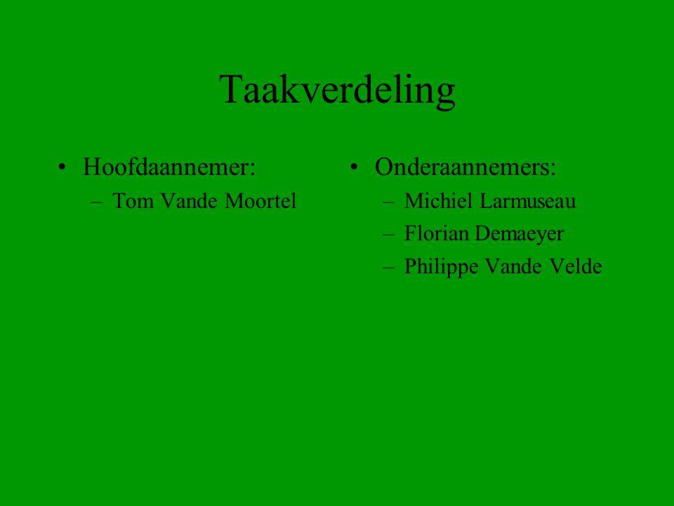 Taakverdeling Hoofdaannemer: Onderaannemers: Tom Vande Moortel