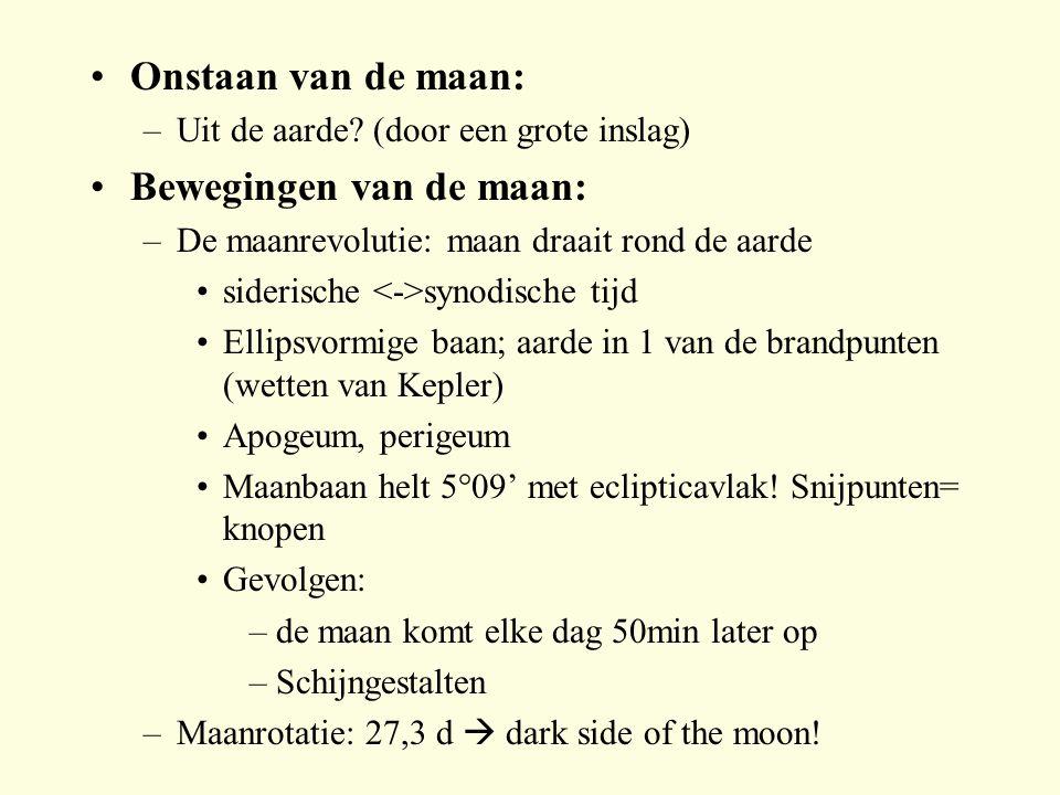 Bewegingen van de maan: