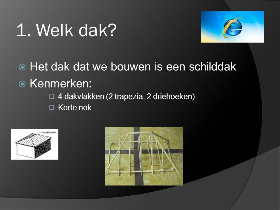 1. Welk dak Het dak dat we bouwen is een schilddak Kenmerken:
