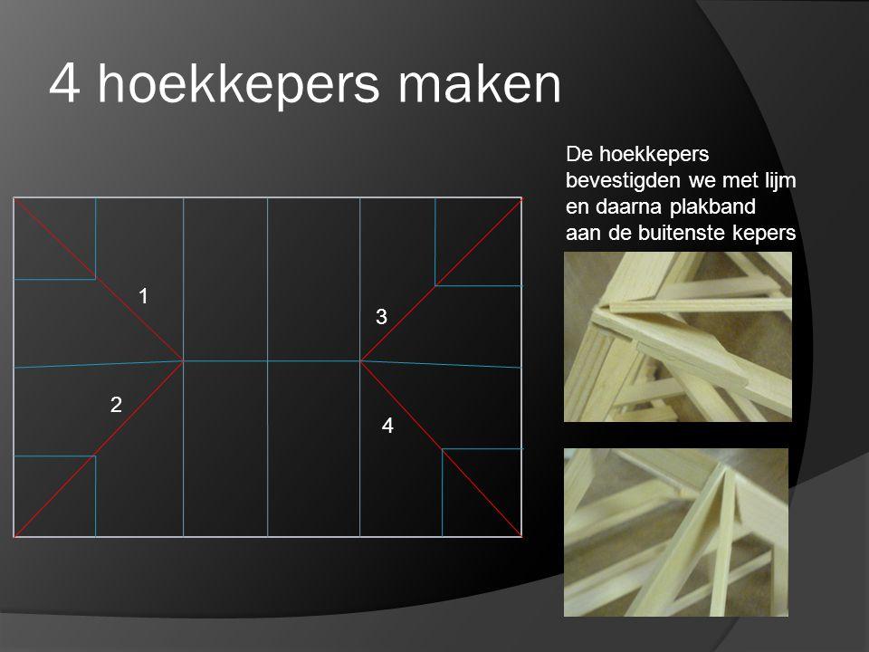 4 hoekkepers maken De hoekkepers bevestigden we met lijm en daarna plakband aan de buitenste kepers.