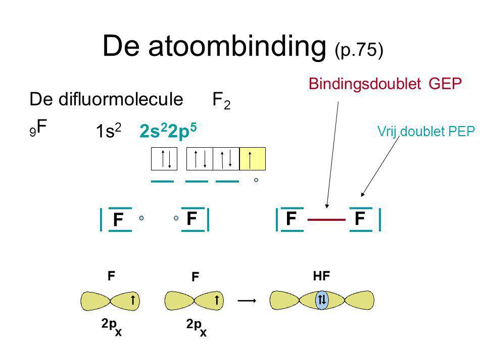 De atoombinding (p.75) De difluormolecule F2 9F 1s2 2s22p5 F F F F F