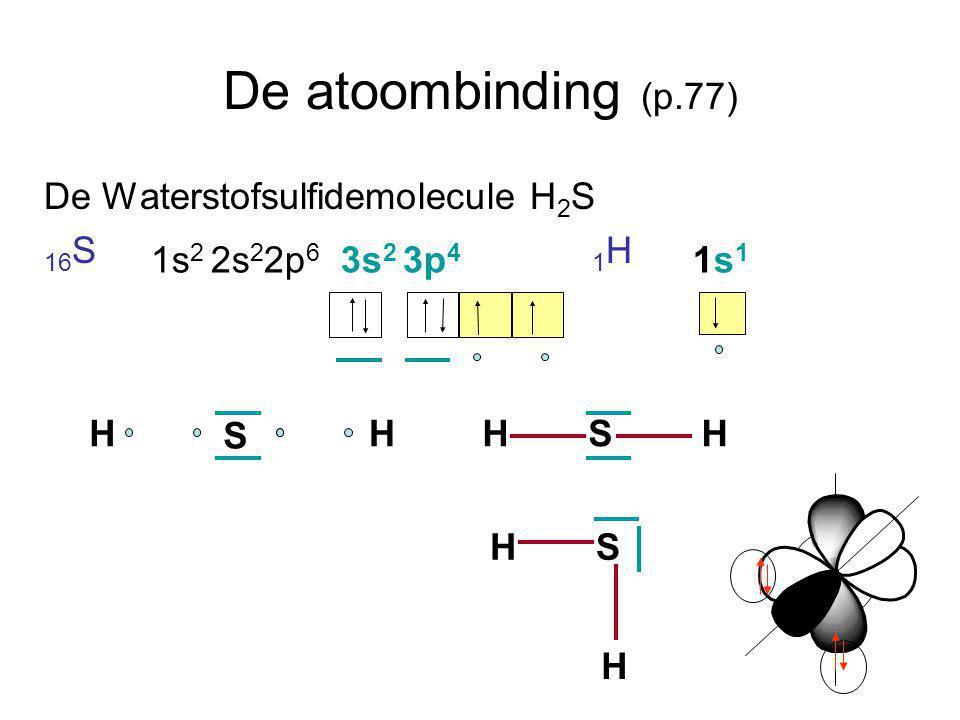 De atoombinding (p.77) De Waterstofsulfidemolecule H2S 16S 1H