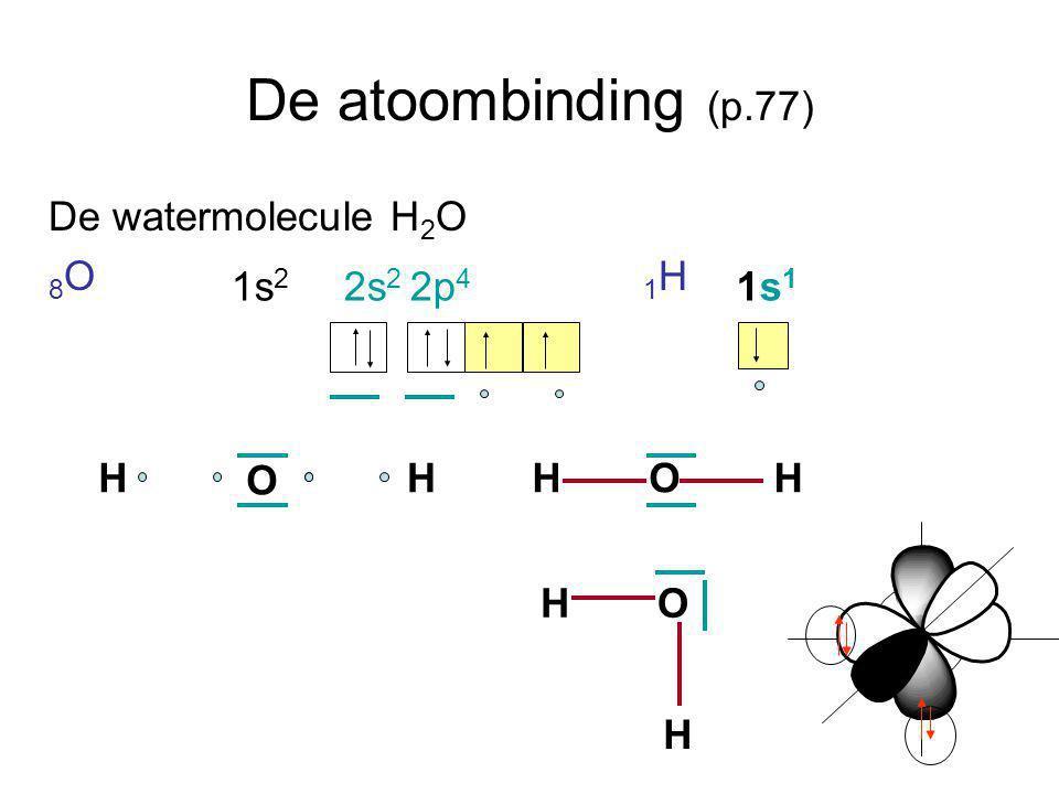De atoombinding (p.77) De watermolecule H2O 8O 1H 1s2 2s2 2p4 1s1 H O