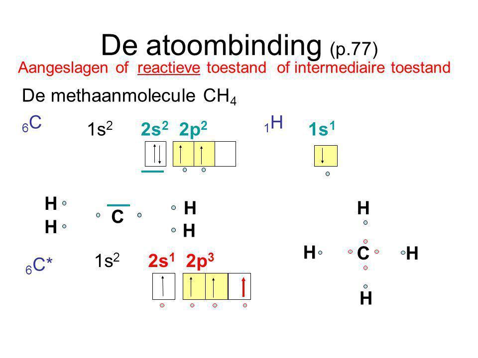 De atoombinding (p.77) De methaanmolecule CH4 6C 1H 1s2 2s2 2p2 1s1 H