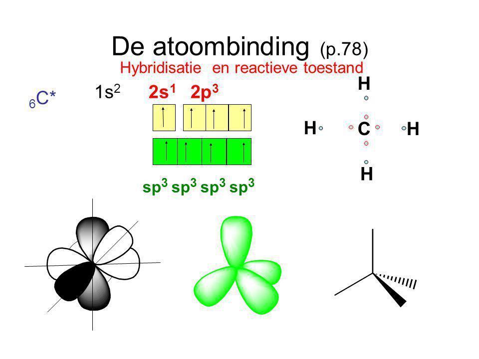 De atoombinding (p.78) H 1s2 2s1 2p3 6C* C